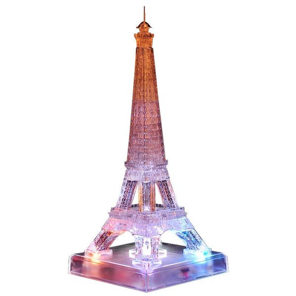 New Arrival 3D Crystal Puzzles Blocks Flash Music Eiffel Tower Educational Toys Christmas Kid's Present New Year Gift