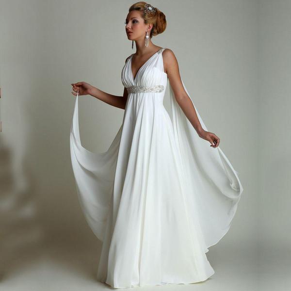 Greek Style Summer Beach Wedding Dresses 2016 V-Neck Pleats Draped Chiffon Floor Long Cheap Bridal Gowns Plus Size Maternity Wedding Gowns