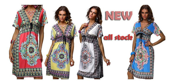 2016 18 colors plus size S-XXL summer Printing / dyeing new deep v-neck peacock bohemia long beach dress sexy casual maxi dress