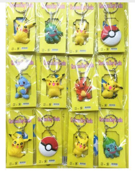 Nouveau 3sets (12pcs / set) Cartoon Anime Pocket Monsters Pikachu Elf PVC Porte-clés Pendentif Figure Modèle Chaîne Clé Pour Le Meilleur Cadeau Livraison Gratuite