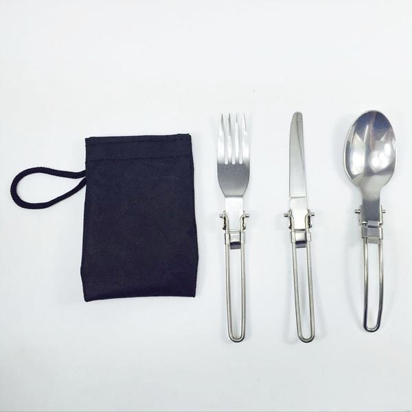 3 pezzi / set Portable Outdoor Camping Viaggi Picnic Pieghevole posate in acciaio inox Set cucchiaio forchetta coltello da tavola