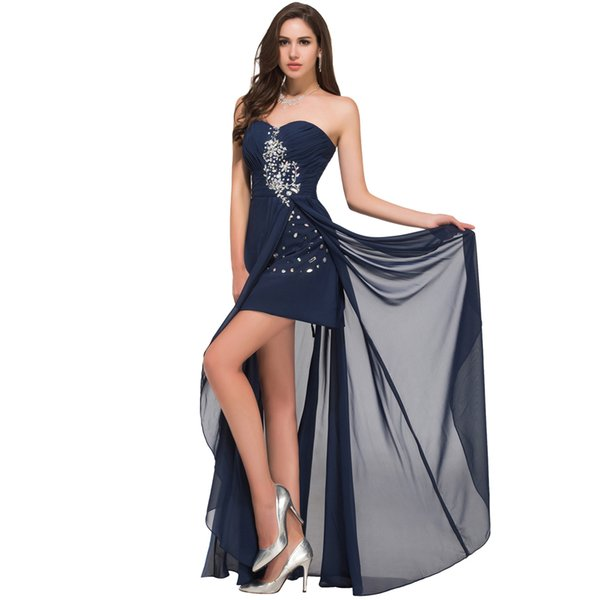 2019 Newest Red Short Front Long Back Prom Dresses Navy Blue Prom Dress Slit Strapless Party Formal Gown Robe de soiree Custom Made