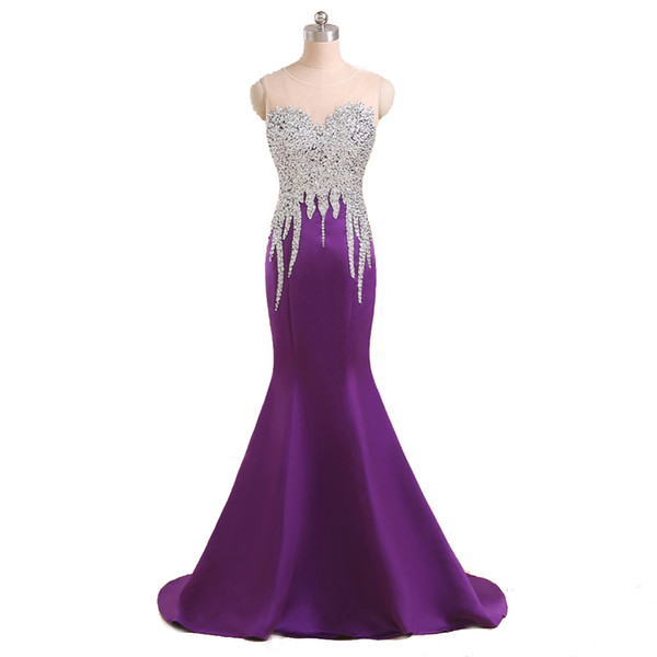 Real Made Purple Satin Evening Gowns Mermaid Style Full Beaded Top Zip Back Queen's Fashion Banquet Dress