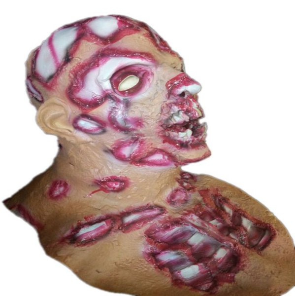 Scary Zombie Mask Latex Full Face Realistic Bloody Head Halloween Costume Horror Masquerade Party Cosplay Props Masks 10pcs/lot