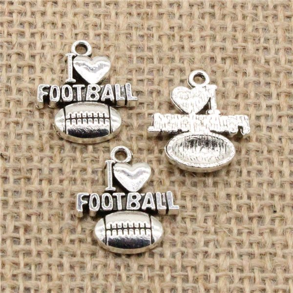 Wholesale 65pcs Charms Tibetan Silver/Antique Bronze Plated i love football 18*20mm Pendant for Jewelry DIY Hand Made Fitting
