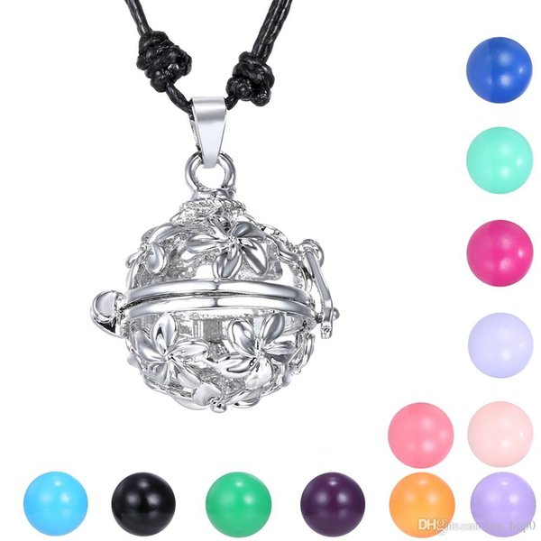 Angel Caller Chime Ball Colgante Collar Mujeres Embarazo Bebé Flor Hollow Cage Bell Joyería Fit 16mm Chime Ball 2016 Bola Mexicana