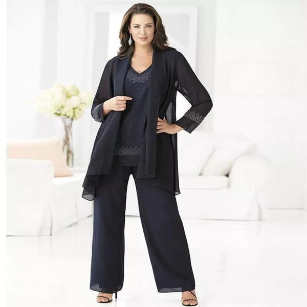 Artı Boyutu Ucuz Lacivert Anne Gelin Pant Suits Zarif 3 Parça Şifon Pantolon Suit 2018 Damat Anne Düğün Kıyafetleri Elbise