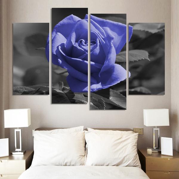 Moderne Blume Malerei Rosenöl Set 4 Stück Große Leinwand Kunst Günstige Wandbilder Für Wohnzimmer Dekoration (Kein Rahmen)