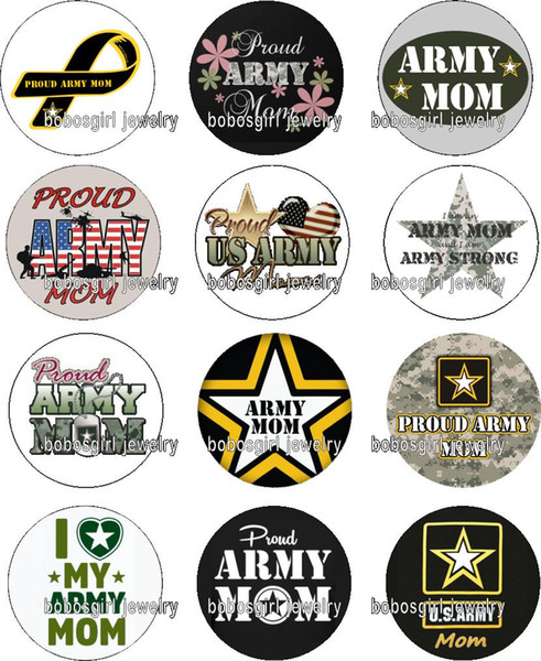 Free shipping ARMY MOM glass Snap button Charm Popper for Snap Jewelry good quality 12pcs / lot Gl379 jewelry making