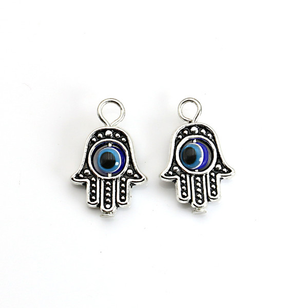 10PCS Tibetan Silver plated Hamsa Hand Charm Evil Eye Blue Bead fit Pendant Necklace Bracelet Jewelry Accessories DIY 18X13MM