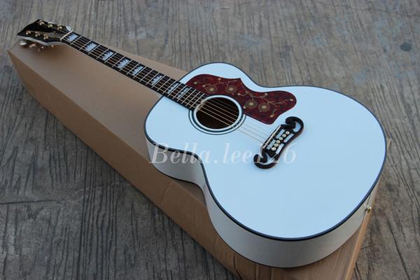 best selling Custom guitar shop, OEM handmade WHITE color 43'' Jumbo acoustic guitar, can ship it in 24 hours