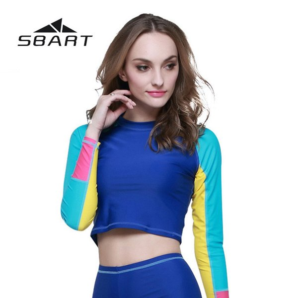 efe314a96e SBART Women Diving Swimsuit Long Sleeve Tight Tops Wetsuit Surfing Windsurf  Quick-Dry Beach Suit