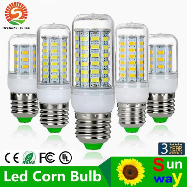 SMD5730 E27 GU10 B22 E14 G9 Lámpara LED 7W 12W 15W 18W 220V 110V 360 ángulo SMD LED Bombilla Led-Maíz luz 24LED 36LED