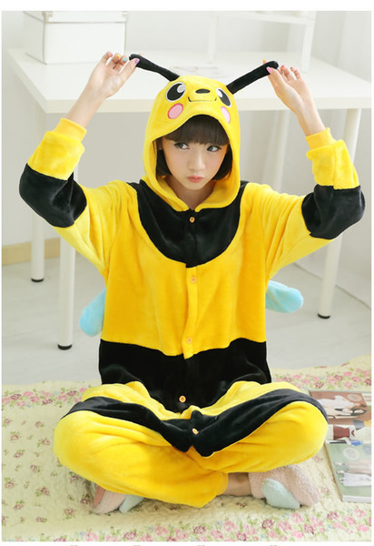 New Adult Animal Bee Pajamas Yellow Color Onesie Winter Sleepsuit Sleepwear Pyjamas Unisex For Party Clothes
