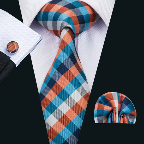 Classic Silk Necktie Set Blue Men Ties Plaids Men Neckties Tie Hanky Cufflinks Jacquard Woven Meeting Business Wedding Casual Party N-1485