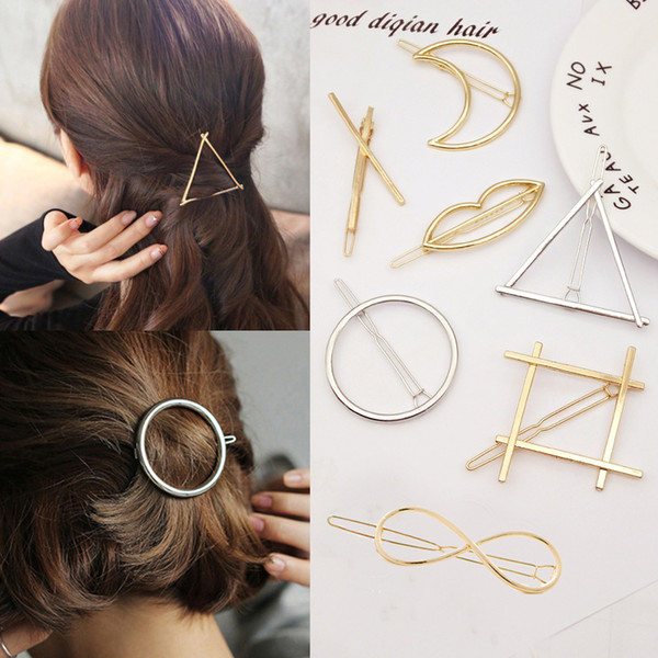 top popular 2017 New Promotion Trendy Vintage Circle Lip Moon Triangle Hair Pin Clip Hairpin Pretty Womens Girls Metal Jewelry Accessories 2019