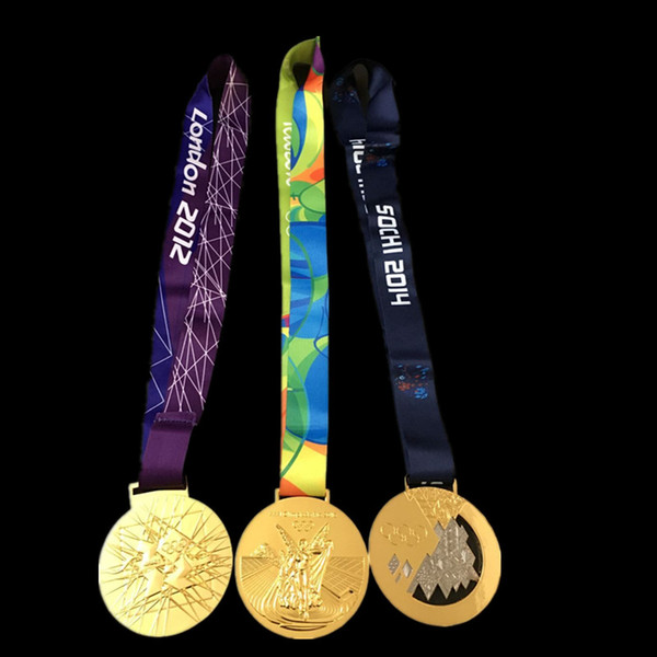 3 pcs per lot Mix. three designs Olympic Gold Medals 2012 London 2014 Sochi 2016 Rio badges with Ribbon Championship award for player