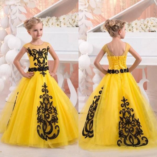 New 2017 Yellow Tulle Princess Flower Girls Dresses For Weddings Birthday Party Cheap Black Applique Floor Length Little Girl Dress EN10062