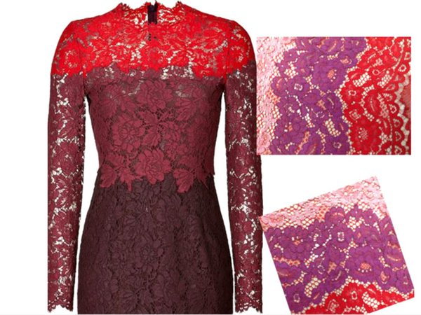 High Quality Multicolor 59 inch Three-color lace French Lace Fabric Sequin Lace 3D Africa lace for Wedding Dress Party LM-17 Eyelash edge