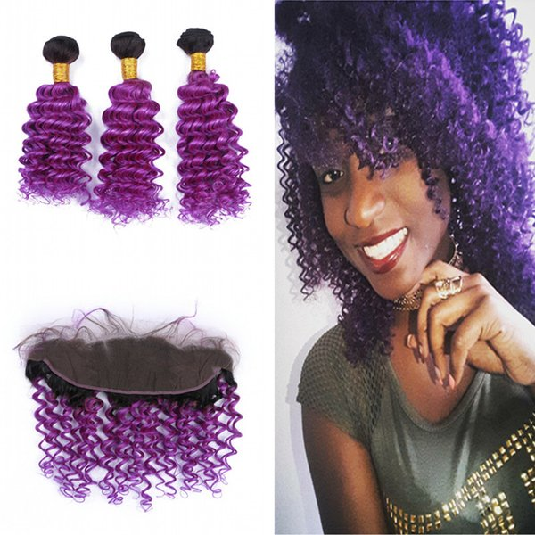 Dark Roots Deep Wave 1B Purple Human Hair Bundles With Lace Frontal 13x4 Frontal With Virgin Purple Hair Weft Extension 4Pcs/Lot