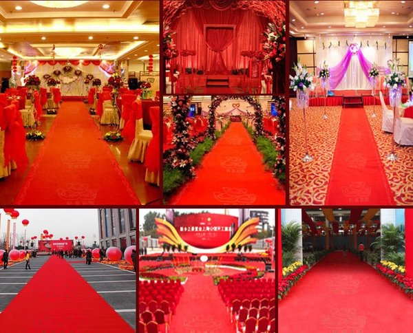New Wedding Centerpieces Favors Red Nonwoven Fabric Carpet Aisle Runner For Wedding Party Decoration Supplies Shooting Prop 20 Meters/roll