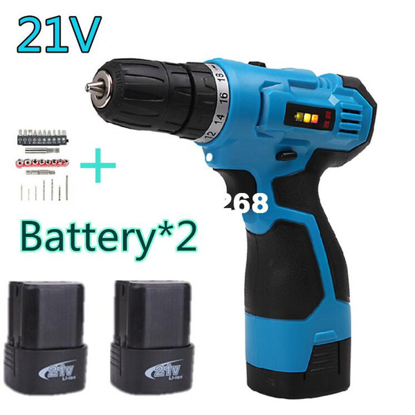 top popular 21V two speed Rechargeable charge Cordless electric drill household hammer Manual electric screwdriver power tool 2*battery sets 2021