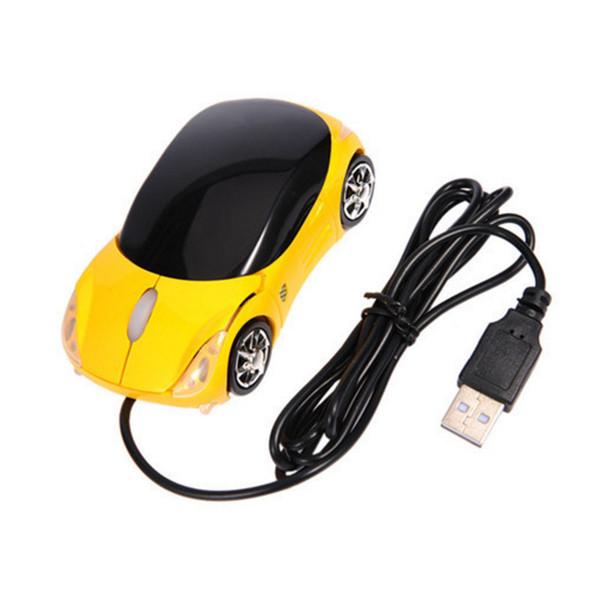 Atacado-1600DPI Mini Car forma USB com fio óptico mouse inovador 2 faróis do mouse para computador desktop laptop Mice Brand new