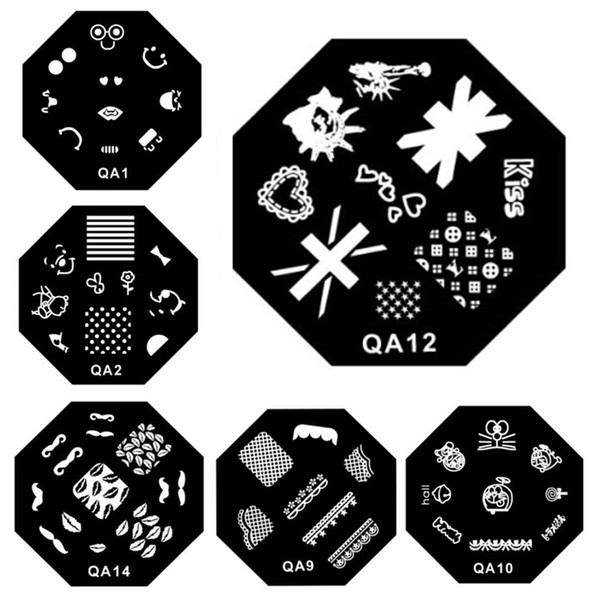QA Series 60 Designs Pattern DIY Nail Art Image Stamping Plates Plantilla de Manicura