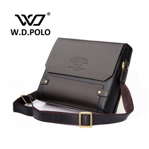 Wholesale-2016 W.D POLO Men Leather shoulder bag gentle men business handbags contract bags men messenger bag classical design M1640