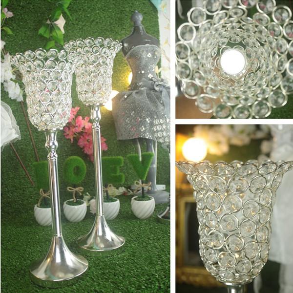 Rose Blume Kristall Hochzeit Kerzenhalter Romantische Stehend Hochzeit  Kerzenständer Glänzend Silber Vergoldet Hochzeit Herzstück Party Event