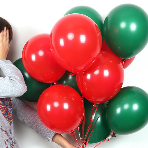100pcs un lotto rosso / verde 10 pollici 2.2g gonfiabile decorazioni di natale palloncini in lattice di buona qualità palloncino vacanze all'ingrosso