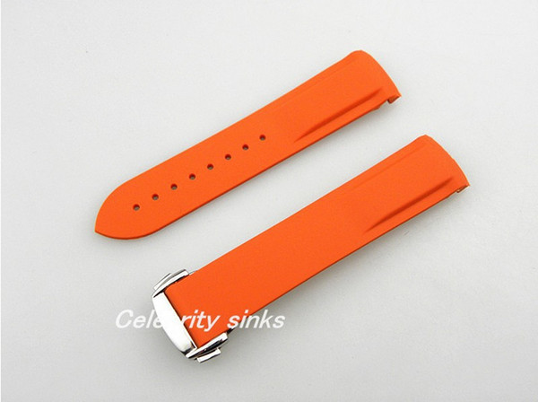 20mm (Buckle 18mm) NEW TOP GRADE Orange Waterproof Diving Silicone Rubber Watchband Straps with Silver buckle For Omega Watch