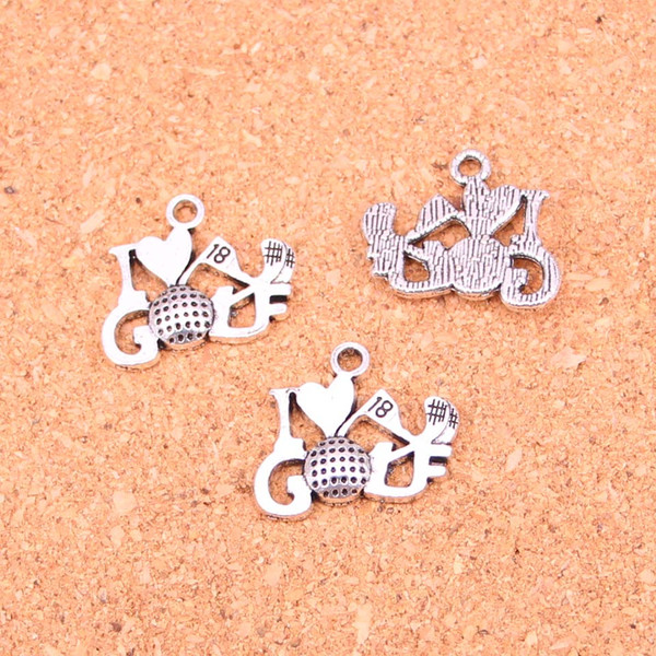 57pcs Antique Silver Plated I love golf Charms Pendants for European Bracelet Jewelry Making DIY Handmade 17*22mm