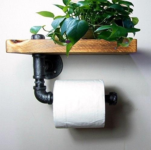 24*15cm Urban Industrial Style Wall Mount Iron Pipe Toilet Paper Holder Roller Wood Shelf Toilet Paper Industry Roller Iron-J011