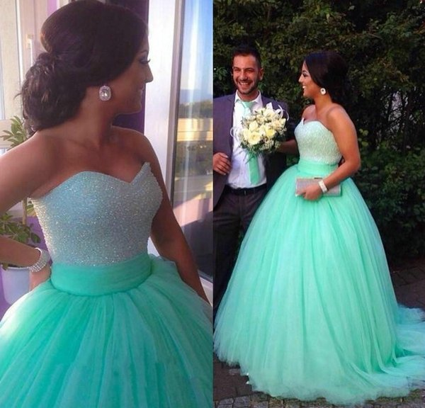 Saudi Arabic Mint Green Quinceanera Dresses Turquoise Ball Gown Tulle Beaded Dream Dresses Evening Prom Dresses