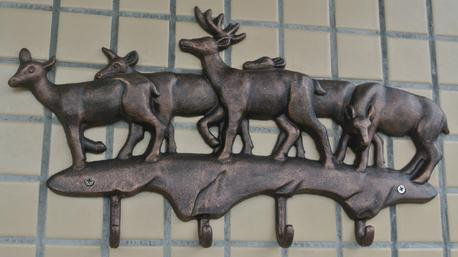 Cast Iron Deer Hooks Antique Metal Hat Coat Clothes Rack Hanger Rural Hanging Wall Mounted Home Decorations EMS Free Shipping