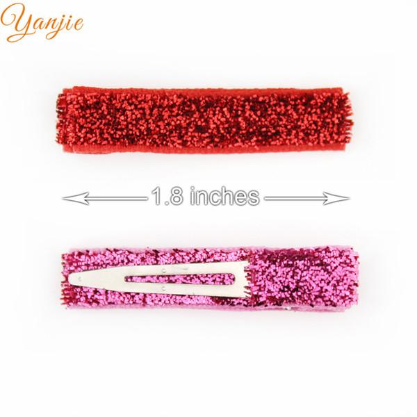 Fashion 32pcs /Lot 1 .8 ''Glitter Hair Clips Girls Ribbon Lined Clips for Kids and Children Diy Hair Bows Headwear Hair Accessories