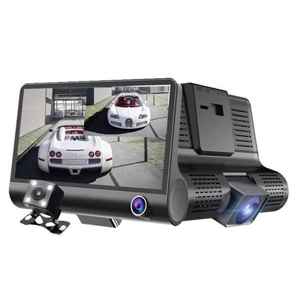 "New 4.0"" HD 1080P Car DVR Three Lens Dash Camera Front Rear Interior 3 Vedio Night Vision Hidden Dash Cam Recorder"