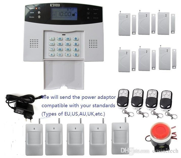DIY-Alarm-Kit mit LCD-Bildschirm 7 verdrahtete und 99 drahtlose Verteidigungszonen Wireless Home Security Einbrecher GSM SMS Alarm System
