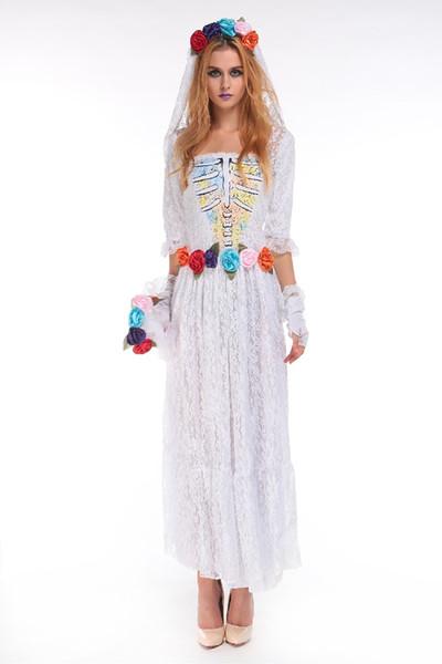 Halloween Wholesale-Fantasma Sposa Costumi donne costumi sexy per adulti cosplay bianco pizzo maglia partito gioco uniforme WS048 Il costume da vampiro