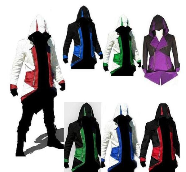 Venta caliente al por mayor Assassins Creed 3 III Conner Kenway Hoodie Coat Jacket Cosplay traje envío gratis