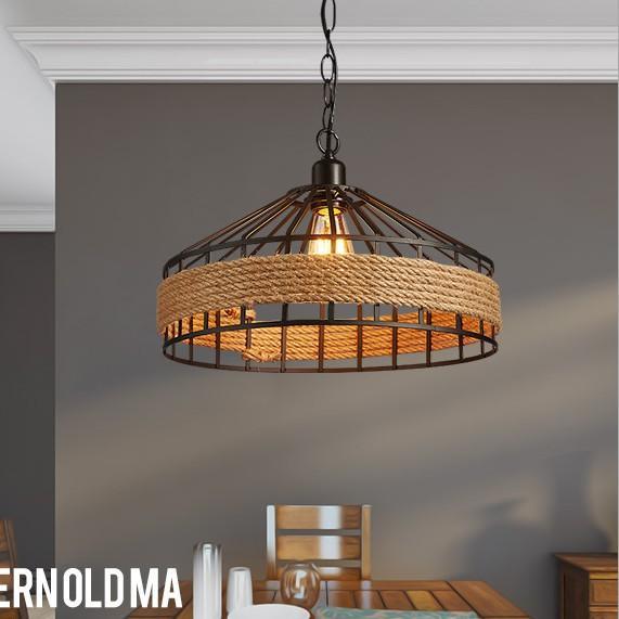 Loft Vintage rope Pendant Lamp Iron Retro lighting fixtures Industrial Style lamparas de techo vintage Edison Pendant Lights LLFA