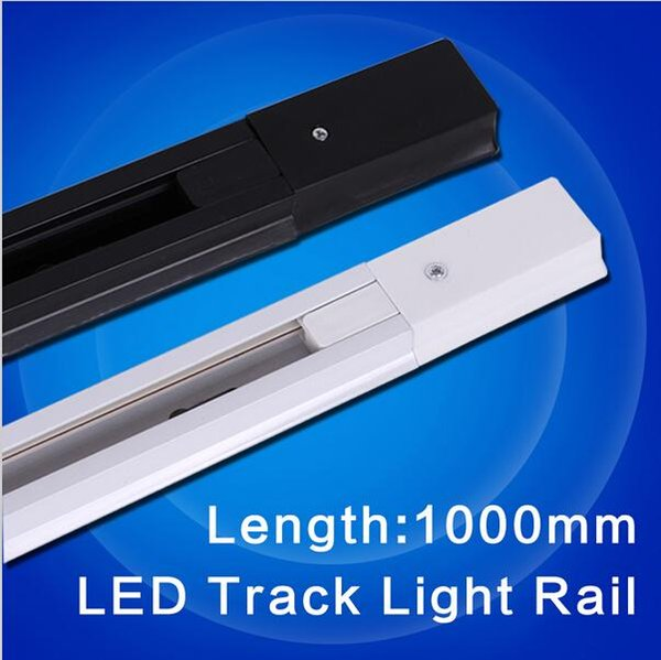 1 Metros 2 Fase Blanco Negro Internacional Universal Led Track lámpara de la lámpara Línea de Metal Halide Slide Rail Connector