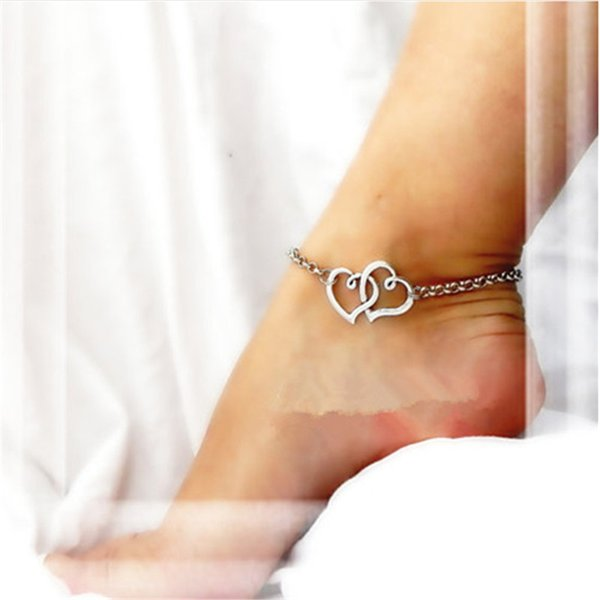 New Double Heart Silver Plated Chain Beach Sandal Anklet Ankle Foot Charm Bracelet for Lady Jewelry Gift