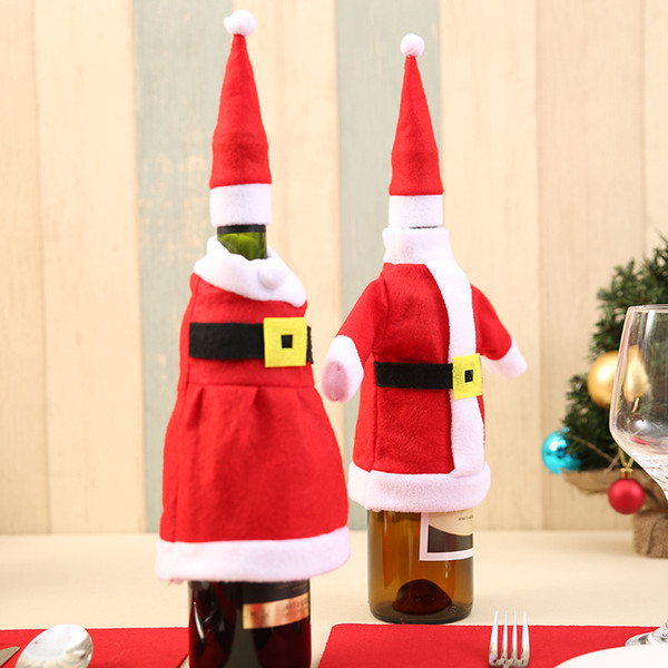 Christmas Gift Wraps Santa Claus Knitting Cloth Ornaments Xmas Wine Bottle Cover Bag Dinner Party Table Decor