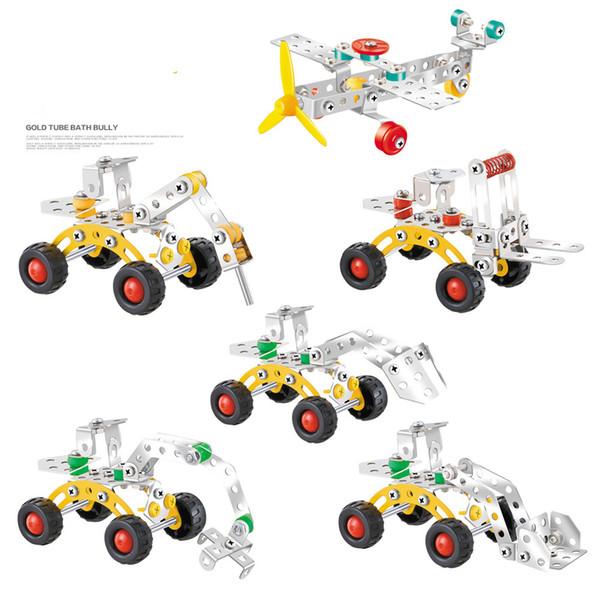 Construct fantastic models Metal mdels toys car aircraft Engineering vehicle scale models 3D Building blocks model kit Vehicle 6 styles mixe