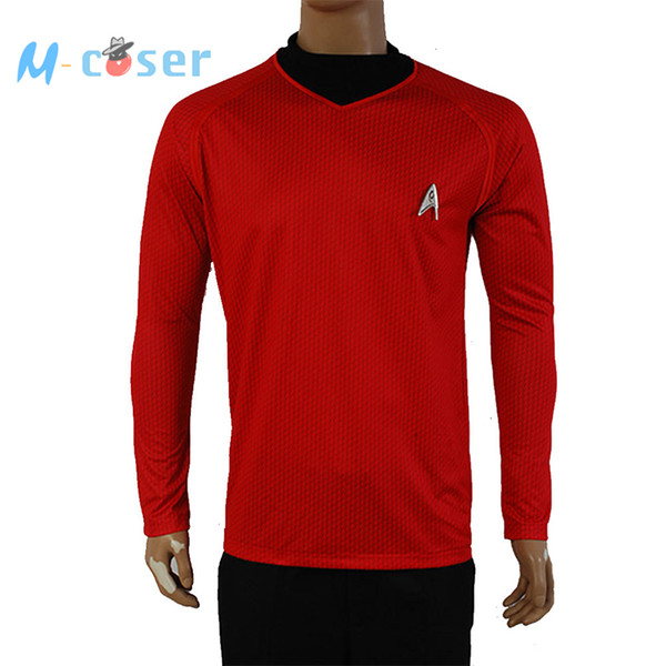 Wholesale-Clearance Star Trek Into Darkness Scotty Shirt Uniform Cosplay Costume Red Version For Adult Men