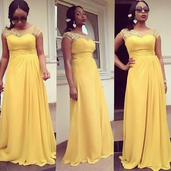 Plus Size Vestidos de Dama de Honra Amarelo Chiffon Apliques Sheer Scoop Pescoço Tampado Mangas Vestidos de Festa de Casamento Para A Menina Negra África do Sul