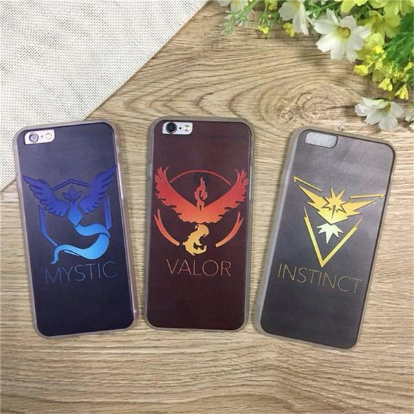 Para iphone 5 5s SE 6 6S Plus Cartoon Poke Mon Go Phone Case 2016 Juego caliente Poke mon Team Valor Team Equipo místico Instinct Protection Case