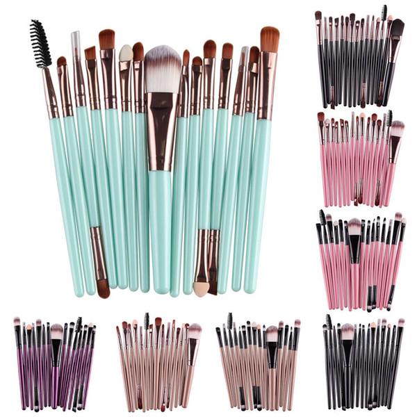 Bonne qualité professionnelle 15 pcs / ensembles fondation ombre à paupières sourcils pinceau à lèvres maquillage pinceaux outil Comestic
